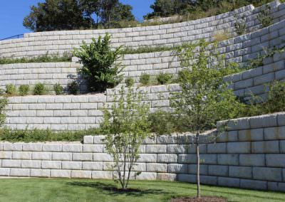 Limestone Retaining Wall at University