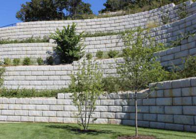 Limestone Retaining Wall at University
